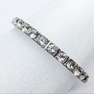 Vintage Jewelry - Graziano Crystals Silver Stone Bangle Bracelet